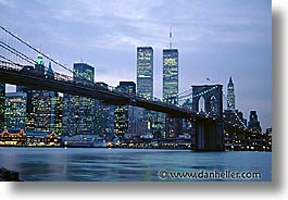 america, bridge, brooklyn bridge, cities, horizontal, new york, new york city, nite, north america, united states, photograph