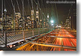 america, bridge, brooklyn bridge, cities, horizontal, motion blur, new york, new york city, nite, north america, united states, photograph