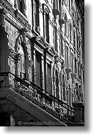 america, black and white, brownstones, buildings, new york, new york city, north america, united states, vertical, photograph