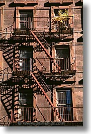 america, buildings, escapes, fire, new york, new york city, north america, united states, vertical, photograph
