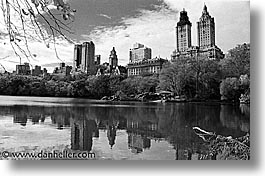 america, black and white, buildings, central park, horizontal, new york, new york city, north america, reflect, united states, photograph