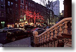 america, horizontal, lites, neighborhoods, new york, new york city, north america, red, trees, united states, photograph