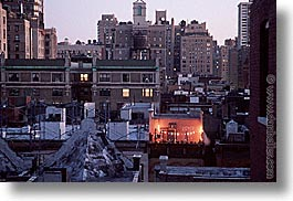 america, balconies, christmas, horizontal, neighborhoods, new york, new york city, north america, united states, photograph