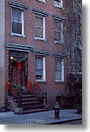 america, christmas, doorways, neighborhoods, new york, new york city, north america, united states, vertical, photograph