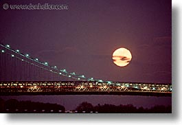 america, bridge, horizontal, manhattan, moon, new york, new york city, nite, north america, united states, photograph