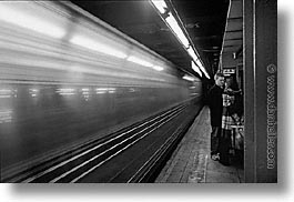 america, black and white, center, horizontal, motion blur, new york, new york city, north america, rock center, rocks, subway, united states, photograph