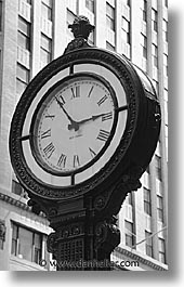 america, black and white, clocks, new york, new york city, north america, streets, united states, vertical, photograph