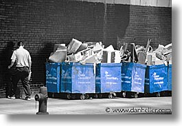 america, bins, color composite, color/bw composite, horizontal, new york, new york city, north america, streets, trash, united states, photograph
