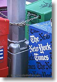 america, boxes, chains, new york, new york city, news, north america, times square, united states, vertical, photograph