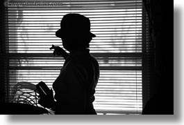 america, ashland, black and white, blinds, horizontal, north america, oregon, people, silhouettes, united states, windows, womens, photograph