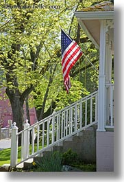 america, american, ashland, conceptual, flags, nature, north america, oregon, patriotic, plants, porch, trees, united states, vertical, photograph