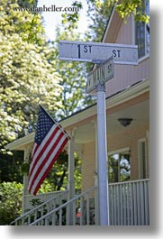 america, american, ashland, conceptual, flags, nature, north america, oregon, patriotic, plants, porch, signs, trees, united states, vertical, photograph