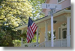 america, american, ashland, conceptual, flags, horizontal, nature, north america, oregon, patriotic, plants, porch, signs, trees, united states, photograph
