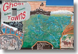america, baker city, ghosttown, horizontal, map, murals, north america, oregon, united states, photograph