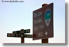 america, cove palisades, horizontal, north america, oregon, palisades, park, signs, united states, photograph