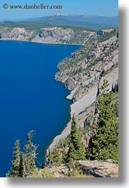 america, crater, crater lake, crater rim, geology, lakes, nature, north america, oregon, rim, united states, vertical, water, photograph