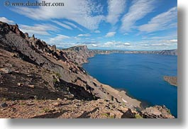 america, clouds, crater, crater lake, crater rim, geology, horizontal, lakes, nature, north america, oregon, rim, sky, sun, united states, water, photograph
