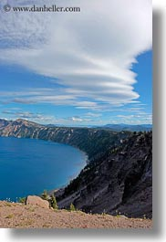 america, clouds, crater, crater lake, crater rim, geology, lakes, nature, north america, oregon, rim, sky, sun, united states, vertical, water, photograph