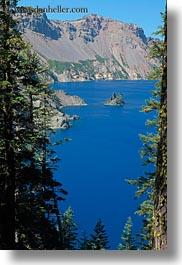 america, crater lake, geology, islands, lakes, nature, north america, oregon, phantom, phantom ship, plants, ships, trees, united states, vertical, water, photograph
