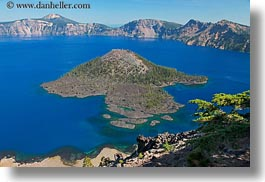 america, crater lake, geology, horizontal, islands, north america, oregon, united states, wizard, wizard island, photograph
