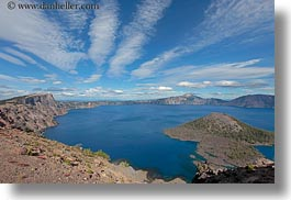 america, clouds, crater lake, geology, horizontal, islands, nature, north america, oregon, sky, sun, united states, wizard, wizard island, photograph
