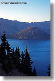 america, crater lake, geology, islands, north america, oregon, trees, united states, vertical, wizard, wizard island, photograph