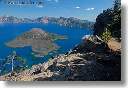 america, crater lake, geology, horizontal, islands, north america, oregon, trees, united states, wizard, wizard island, photograph