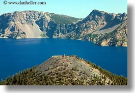 america, crater lake, geology, horizontal, islands, north america, oregon, peaks, united states, wizard, wizard island, photograph