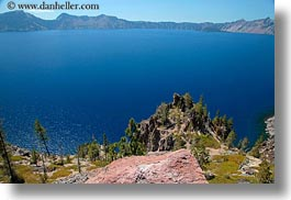 america, crater lake, horizontal, lakes, north america, oregon, trees, united states, photograph
