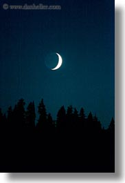 america, crater lake, crescent, moon, nite, north america, oregon, trees, united states, vertical, photograph