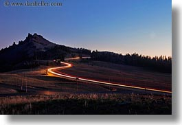 america, cars, crater lake, horizontal, lights, long exposure, moon, mountains, nite, north america, oregon, over, streaks, united states, photograph