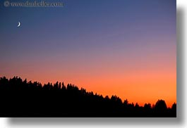 america, crater lake, horizontal, moon, nite, north america, oregon, over, sunsets, trees, united states, photograph