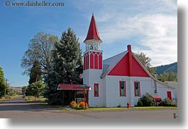 america, churches, halfway, horizontal, north america, oregon, red, united states, white, photograph
