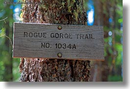 america, gorge, horizontal, north america, oregon, rogue, rogue gorge, signs, trails, united states, photograph
