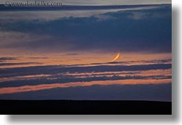 america, clouds, crescent, horizontal, landscapes, moon, north america, oregon, scenics, sunsets, united states, photograph