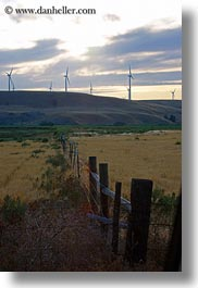 america, fences, landscapes, north america, oregon, scenics, united states, vertical, windmills, photograph