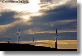 america, horizontal, landscapes, north america, oregon, scenics, sunsets, united states, windmills, photograph