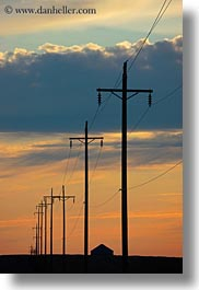 america, clouds, north america, oregon, scenics, sunsets, telephone wires, telephones, united states, vertical, weather, wires, photograph