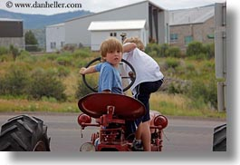 america, boys, bryce canyon, childrens, horizontal, jacks, north america, people, red, tractor, united states, utah, western usa, photograph