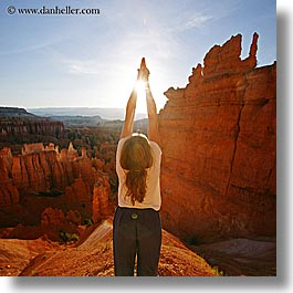 america, bryce canyon, jills, morning, north america, square format, united states, utah, western usa, womens, yoga, yoga positions, photograph