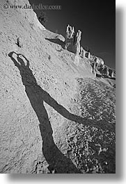 america, black and white, bryce canyon, jills, morning, north america, shadows, united states, utah, vertical, western usa, womens, yoga, yoga positions, photograph