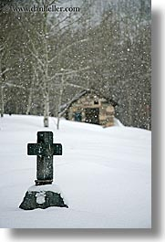 america, crosses, glenwood cemetery, gravestones, north america, park city, snow, trees, united states, utah, vertical, western usa, photograph
