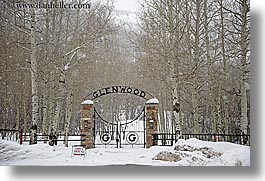 america, cemeteries, gates, glenwood, glenwood cemetery, horizontal, north america, park city, snow, trees, united states, utah, western usa, photograph