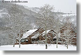 america, condo, condominium, horizontal, houses, north america, park city, snow, trees, united states, utah, western usa, photograph