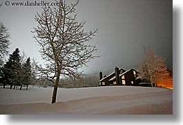 america, condo, condominium, horizontal, houses, nite, north america, park city, sky, snow, trees, united states, utah, western usa, photograph