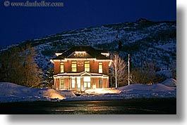 america, horizontal, hospital, hotels, houses, long exposure, miners, nite, north america, park city, snow, united states, utah, western usa, photograph
