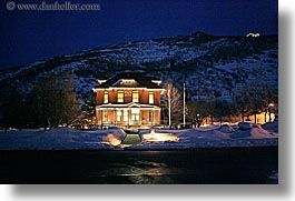 america, horizontal, hospital, hotels, houses, miners, nite, north america, park city, snow, united states, utah, western usa, photograph