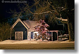 america, christmas, horizontal, houses, long exposure, nite, north america, park city, snow, trees, united states, utah, western usa, photograph