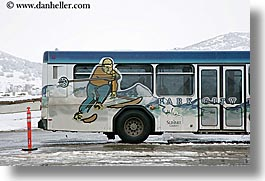 america, bus, horizontal, north america, park city, ski, snow, united states, utah, western usa, photograph