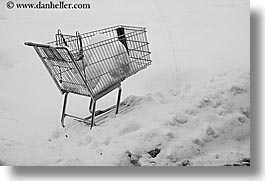 america, black and white, horizontal, north america, park city, shopping cart, snow, united states, utah, western usa, photograph